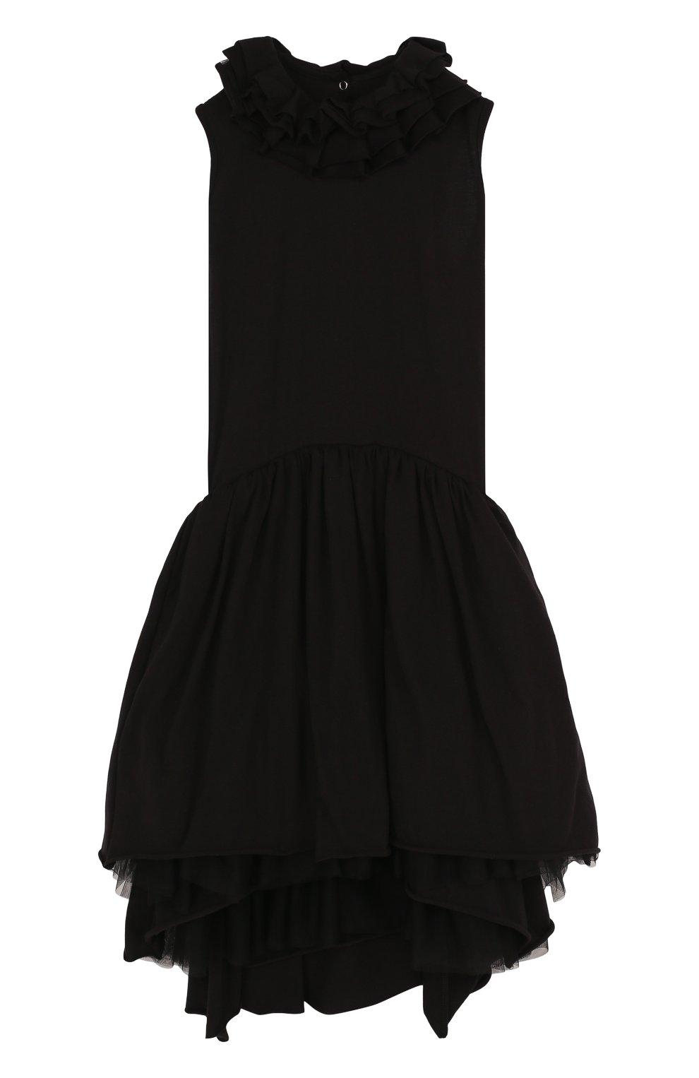 Детское хлопковое платье-миди асимметричного кроя NUNUNU черного цвета, арт. NU1769B | Фото 1