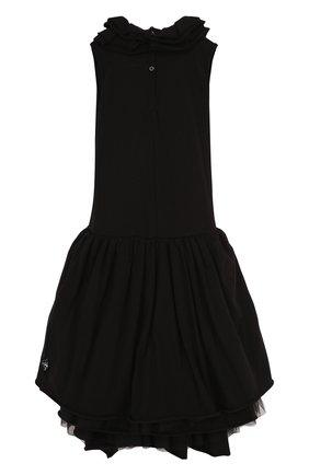 Детское хлопковое платье-миди асимметричного кроя NUNUNU черного цвета, арт. NU1769B | Фото 2