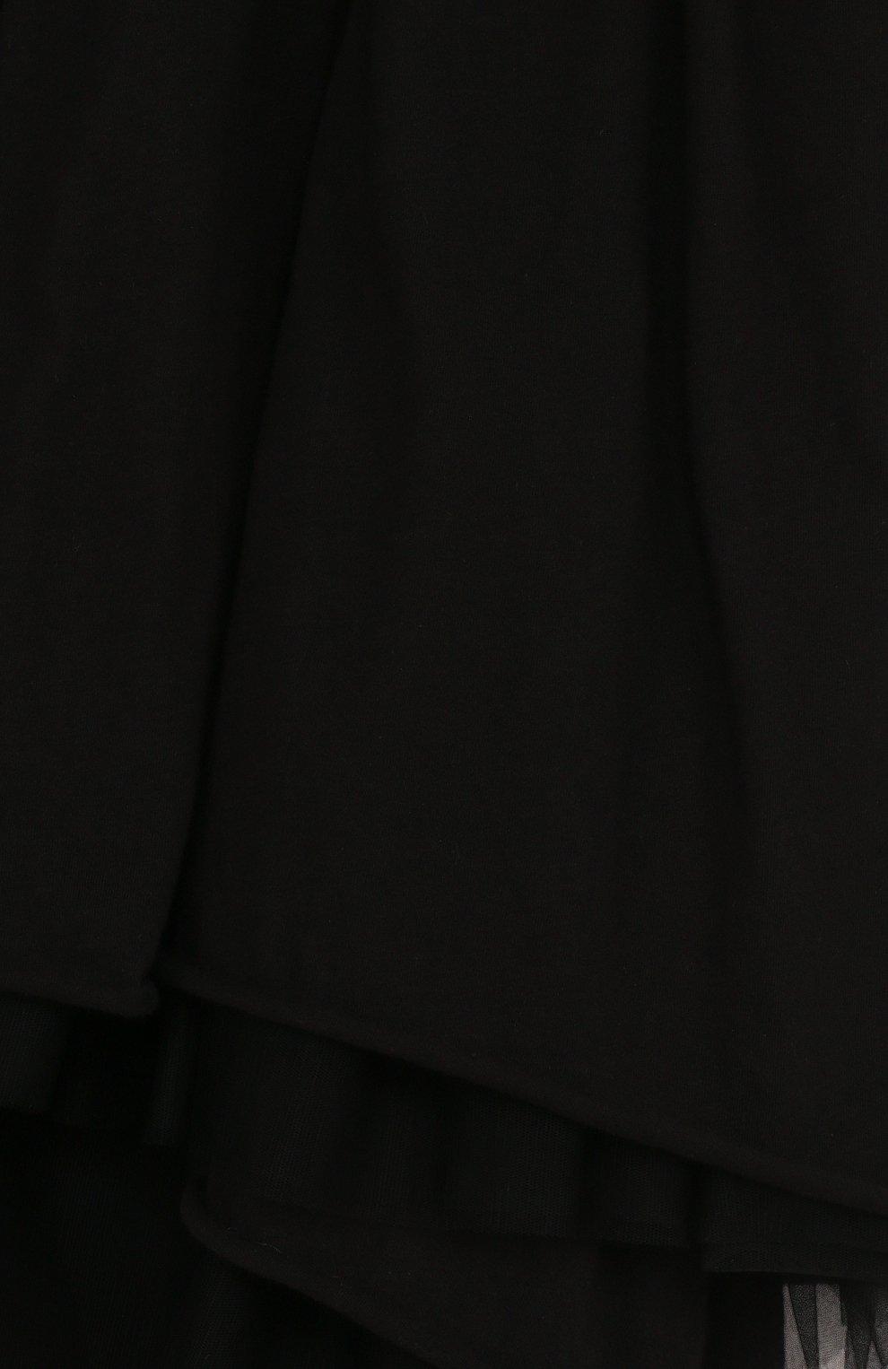 Детское хлопковое платье-миди асимметричного кроя NUNUNU черного цвета, арт. NU1769B | Фото 3