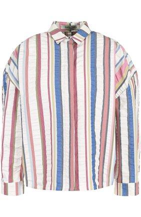 Хлопковая блуза в полоску с укороченным рукавом | Фото №1