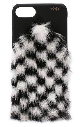 Мужской чехол для iphone 7/8 с отделкой из меха норки YGGY черно-белого цвета, арт. MB18-7 | Фото 1