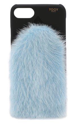 Мужской чехол для iphone 7/8 с отделкой из меха норки YGGY голубого цвета, арт. MP18-7 | Фото 1