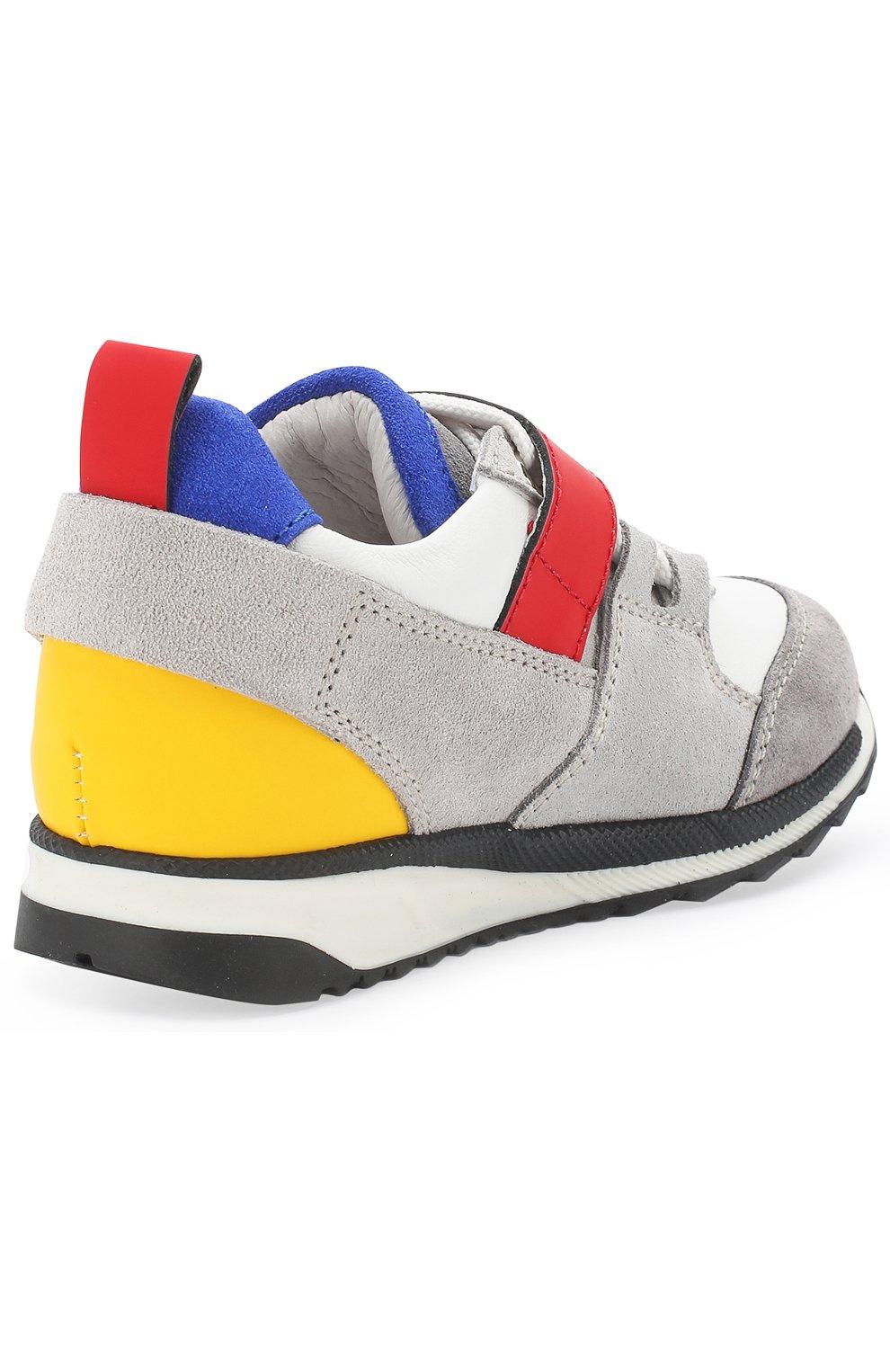 Детские кожаные кроссовки DSQUARED2 серого цвета, арт. 54221/16-27 | Фото 3