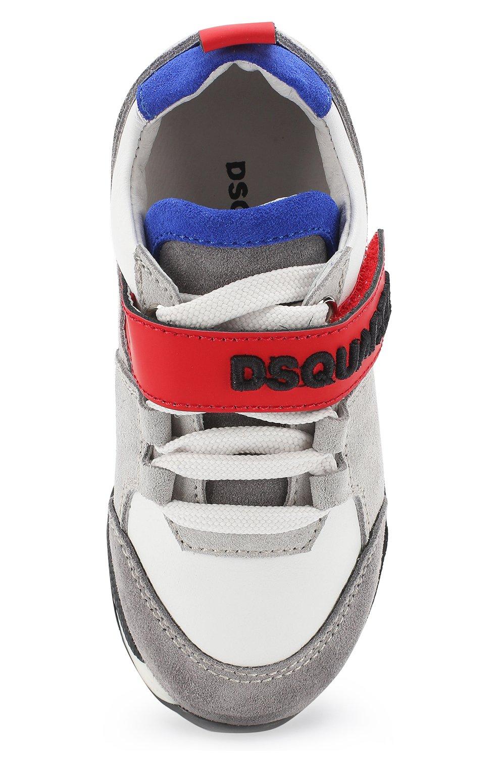 Детские кожаные кроссовки DSQUARED2 серого цвета, арт. 54221/16-27 | Фото 4