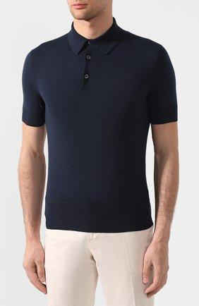 Мужское хлопковое поло с короткими рукавами  TOM FORD темно-синего цвета, арт. BPC00/TFKC33 | Фото 3