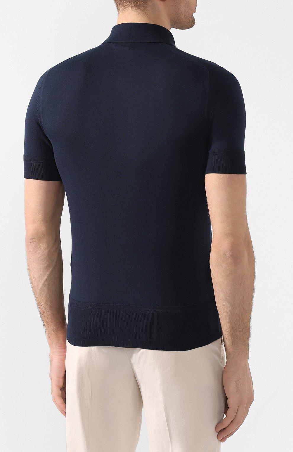 Мужское хлопковое поло с короткими рукавами  TOM FORD темно-синего цвета, арт. BPC00/TFKC33 | Фото 4