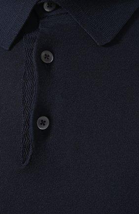 Мужское хлопковое поло с короткими рукавами  TOM FORD темно-синего цвета, арт. BPC00/TFKC33 | Фото 5