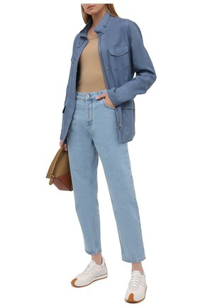 Женская льняная куртка LORO PIANA голубого цвета, арт. FAF6362 | Фото 2