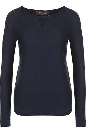 Пуловер из смеси шелка и хлопка с круглым вырезом | Фото №1