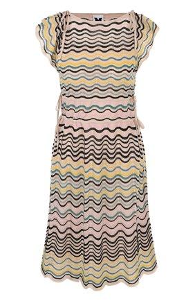 Вязаное приталенное мини-платье без рукавов | Фото №1
