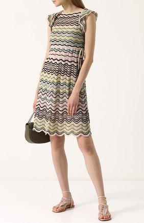 Вязаное приталенное мини-платье без рукавов M Missoni бежевое | Фото №1