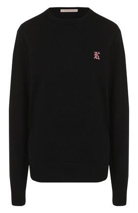 Однотонный кашемировый пуловер с круглым вырезом Christopher Kane черный | Фото №1