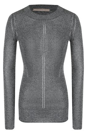 Приталенный вязаный пуловер с круглым вырезом | Фото №1