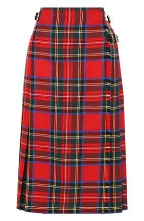 Шерстяная юбка в клетку с кожаной отделкой Christopher Kane красная | Фото №1