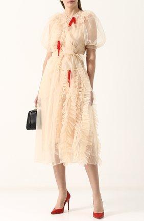 Платье с объемными рукавами и драпировкой Simone Rocha бежевое | Фото №1