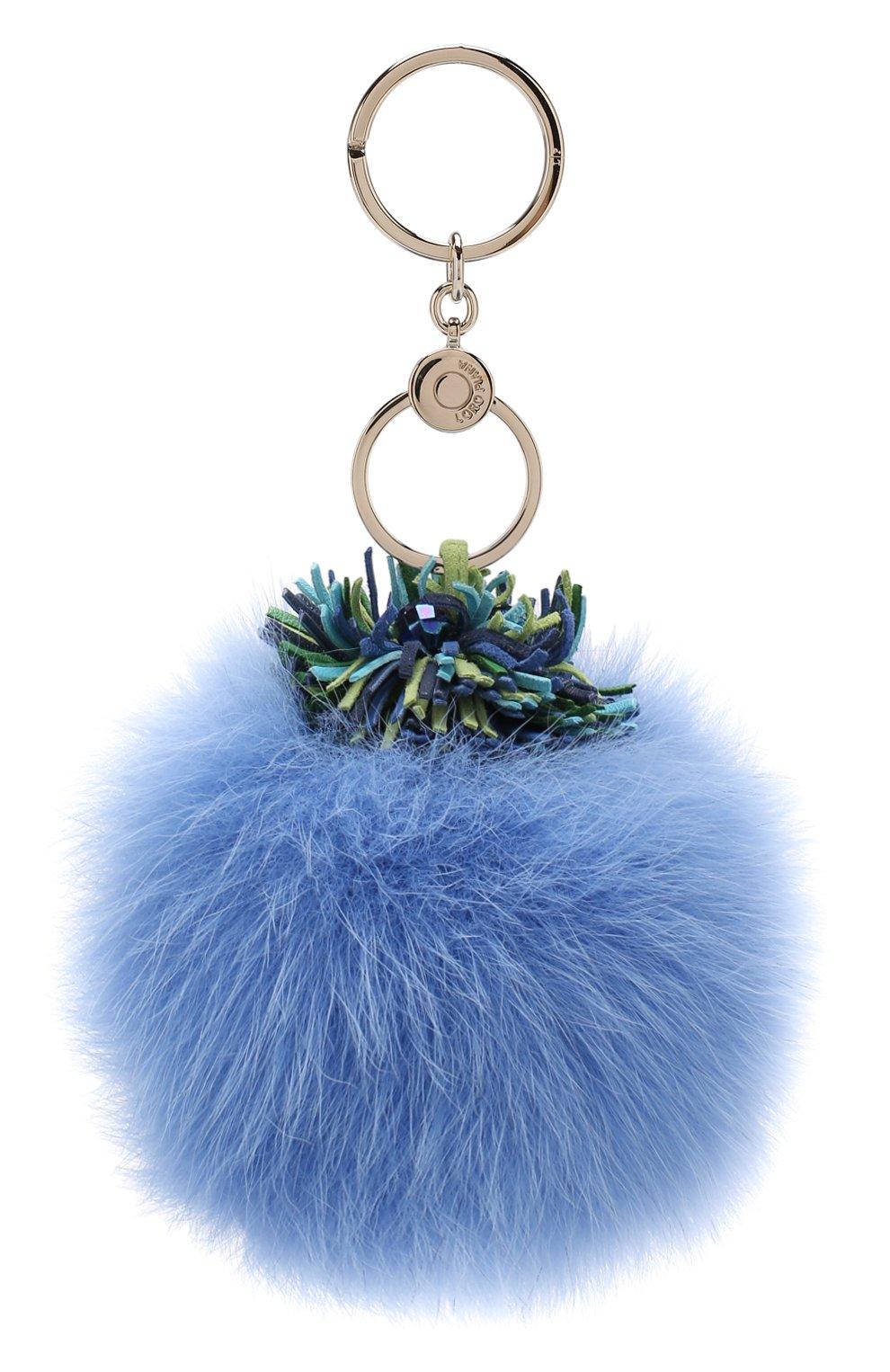 Женский кожаный брелок miss twirl с меховой отделкой LORO PIANA синего цвета, арт. FAI0454 | Фото 1