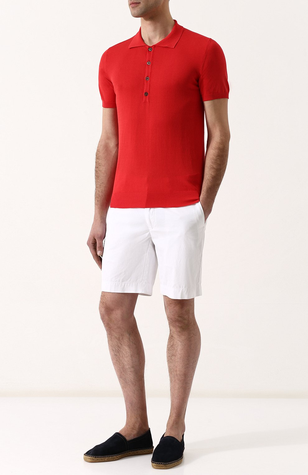 Мужское хлопковое поло с короткими рукавами DANIELE FIESOLI красного цвета, арт. DF 0305/ | Фото 2