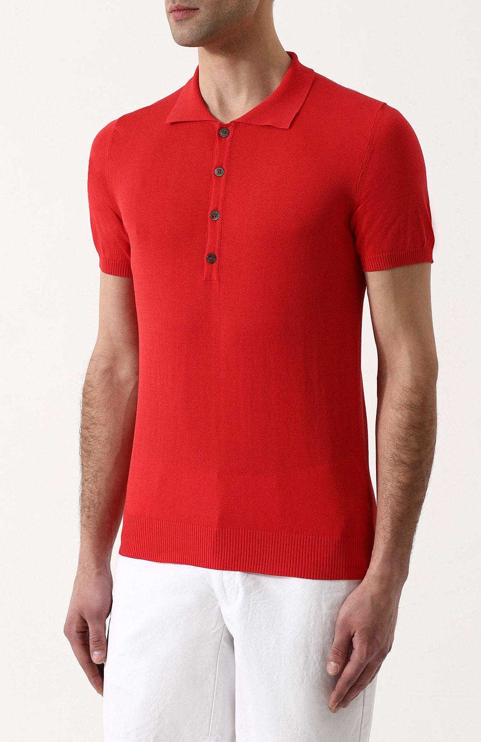 Мужское хлопковое поло с короткими рукавами DANIELE FIESOLI красного цвета, арт. DF 0305/ | Фото 3