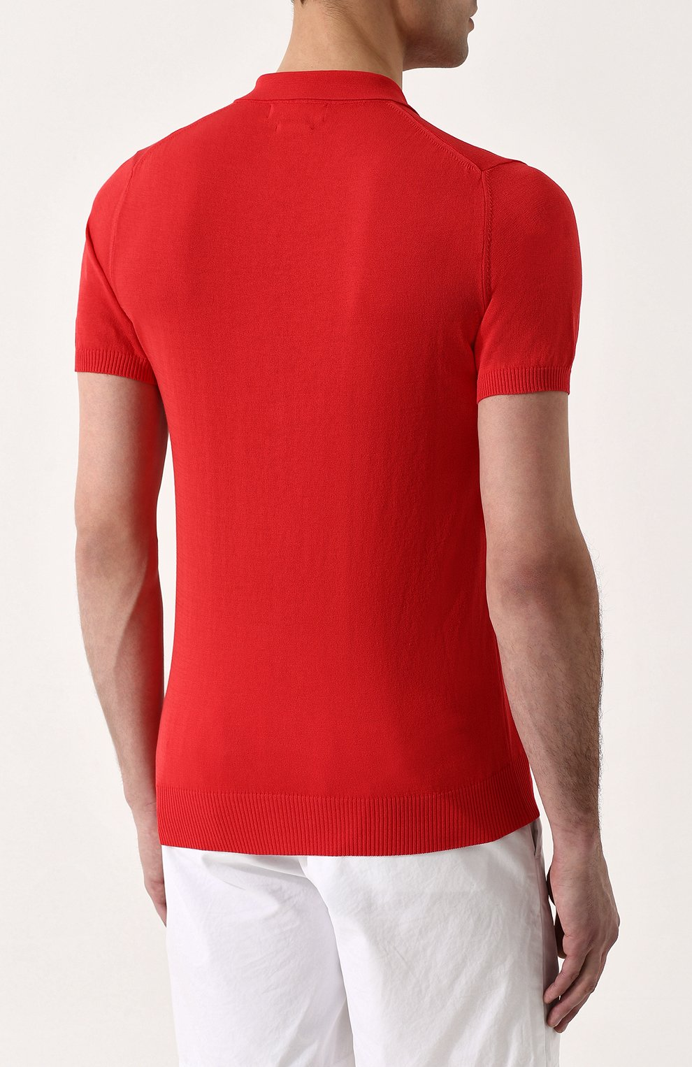 Мужское хлопковое поло с короткими рукавами DANIELE FIESOLI красного цвета, арт. DF 0305/ | Фото 4
