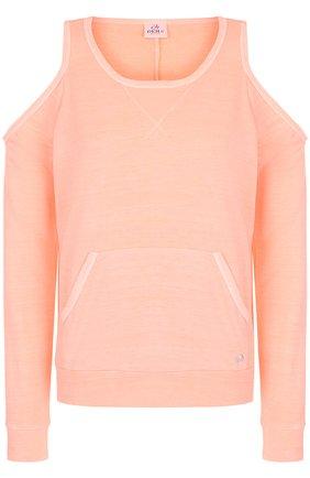 Пуловер с круглым вырезом и разрезами на плечах Deha розовый | Фото №1