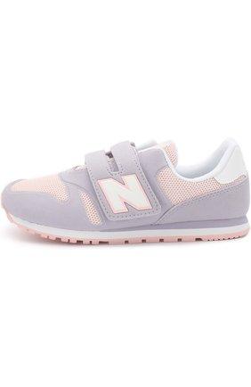 Детские комбинированные кроссовки 373 с застежками велькро New Balance сиреневого цвета | Фото №1