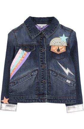 Джинсовая куртка с аппликациями | Фото №1