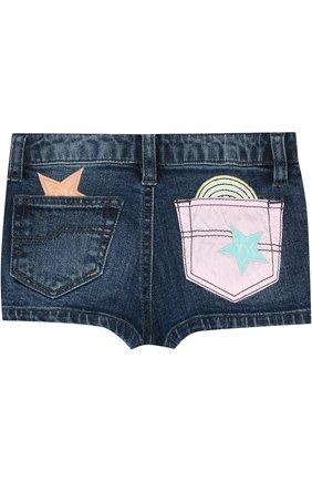 Детские джинсовые шорты с аппликациями MARC JACOBS (THE) синего цвета, арт. W14185/2A-5A | Фото 2
