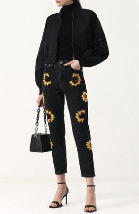 Укороченные джинсы с контрастной вышивкой Dalood черные   Фото №1