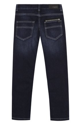 Детские джинсы с декоративными потертостями и поясом на кулиске Karl Lagerfeld Kids синего цвета | Фото №1