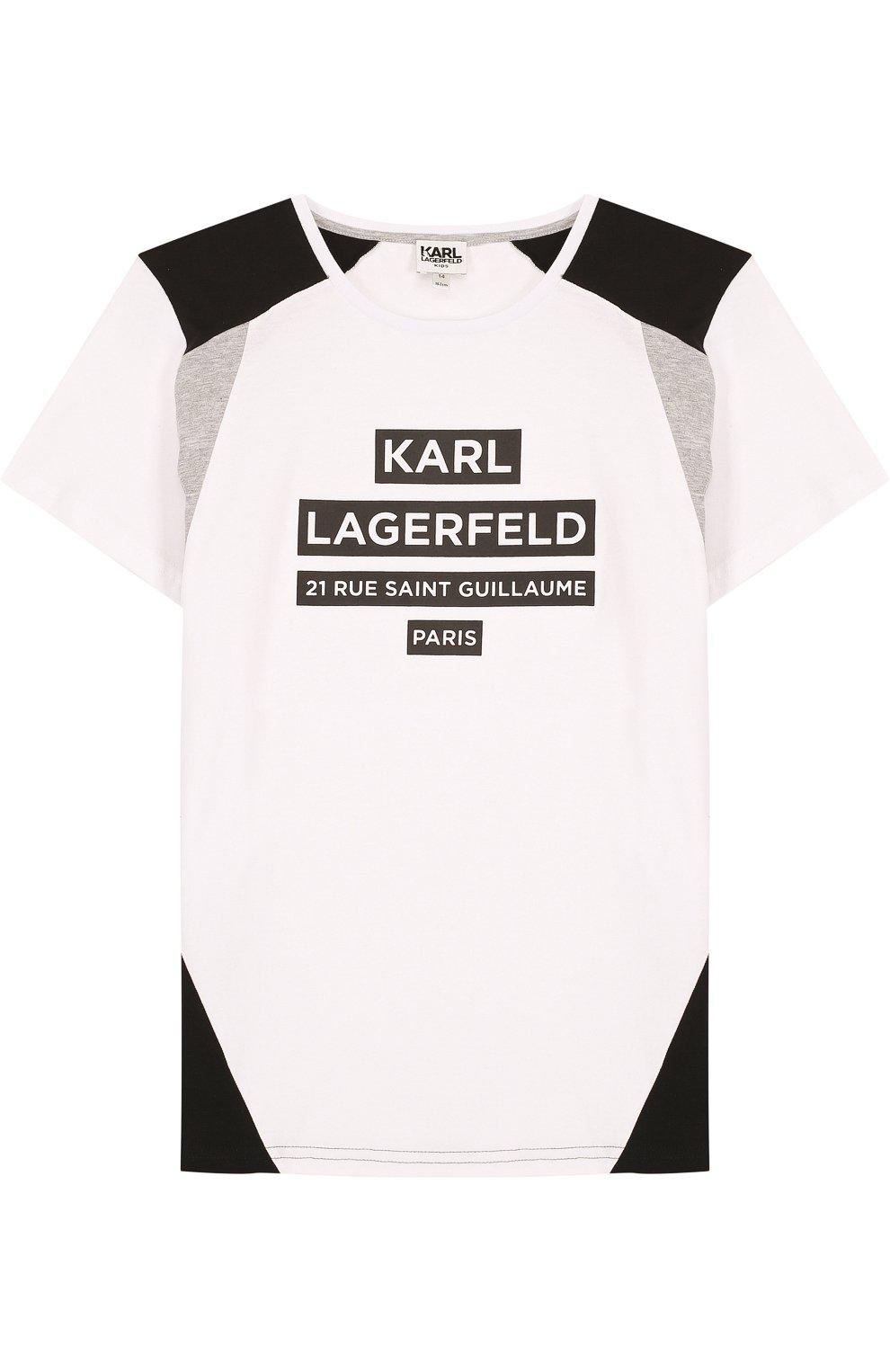 Детская хлопковая футболка с надписью KARL LAGERFELD KIDS белого цвета, арт. Z25129/14A-16A | Фото 1