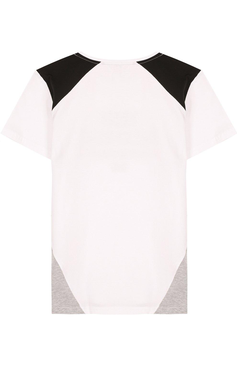 Детская хлопковая футболка с надписью KARL LAGERFELD KIDS белого цвета, арт. Z25129/14A-16A | Фото 2