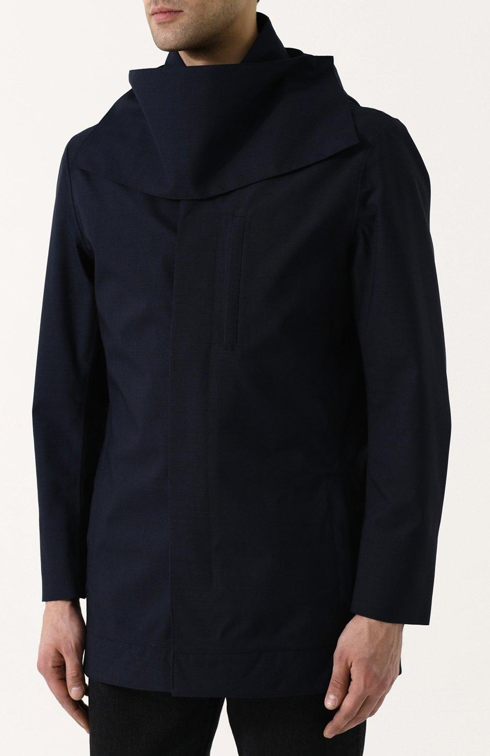 Мужской укороченный плащ на пуговицах с капюшоном NORWEGIAN RAIN темно-синего цвета, арт. CABAN SINGLE BREASTED/MIXED | Фото 3