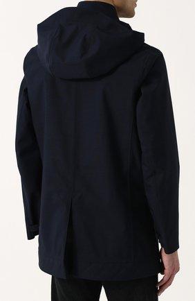 Мужской укороченный плащ на пуговицах с капюшоном NORWEGIAN RAIN темно-синего цвета, арт. CABAN SINGLE BREASTED/MIXED | Фото 4