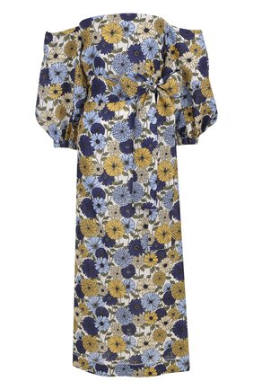 Приталенное льняное платье-миди с принтом | Фото №1