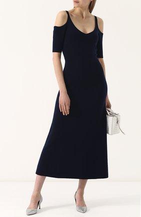 Приталенное платье-миди с разрезами на плечах Gabriela Hearst темно-синее | Фото №1