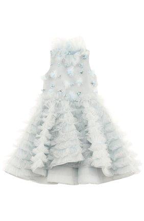 Детское платье с плиссированными оборками и асимметричным подолом Mischka Aoki голубого цвета | Фото №1