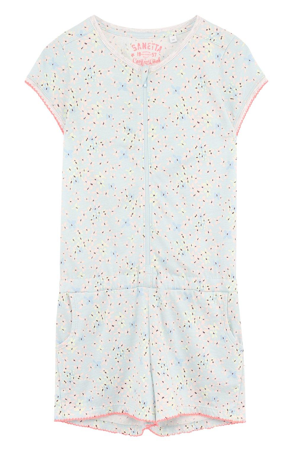 Детская хлопковая пижама на молнии SANETTA голубого цвета, арт. 244139 | Фото 1