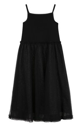 Детское хлопковое платье-миди с металлизированной отделкой Sonia Rykiel Enfant черного цвета | Фото №1