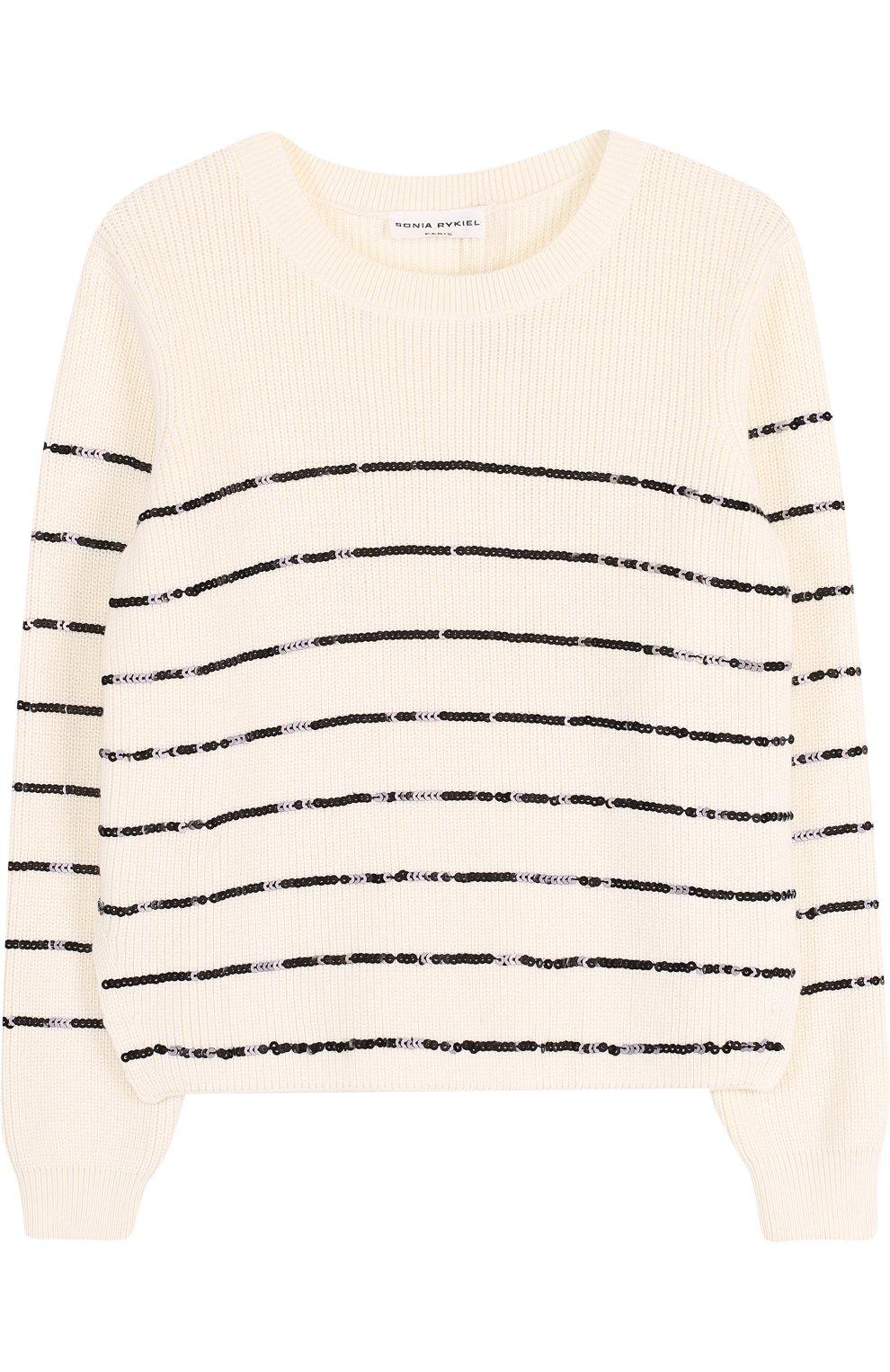 Детский пуловер из смеси хлопка и вискозы с отделкой пайетками SONIA RYKIEL ENFANT черно-белого цвета, арт. 18S1KN09 | Фото 1
