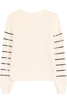 Детский пуловер из смеси хлопка и вискозы с отделкой пайетками Sonia Rykiel Enfant черно-белого цвета | Фото №1