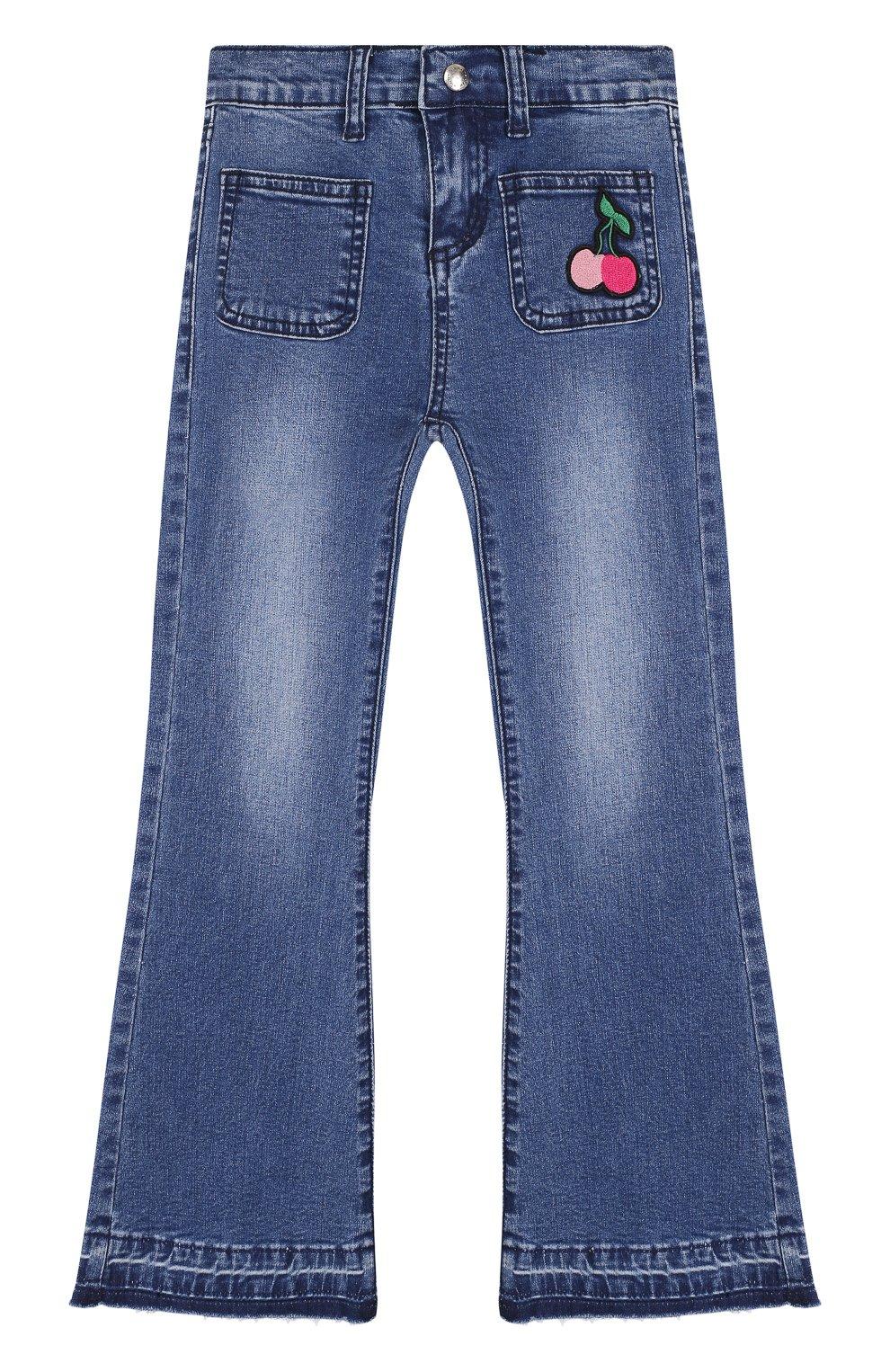 Детские расклешенные джинсы с нашивкой SONIA RYKIEL ENFANT синего цвета, арт. 18S1PA04 | Фото 1