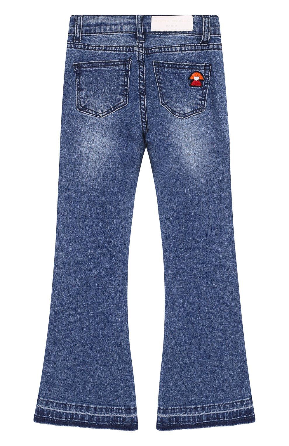 Детские расклешенные джинсы с нашивкой SONIA RYKIEL ENFANT синего цвета, арт. 18S1PA04 | Фото 2