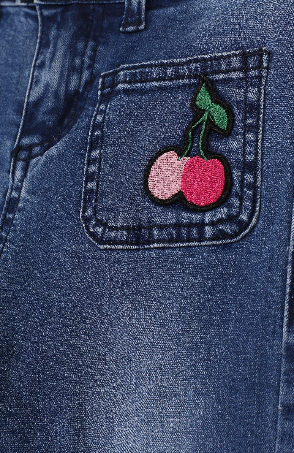 Детские расклешенные джинсы с нашивкой SONIA RYKIEL ENFANT синего цвета, арт. 18S1PA04 | Фото 3