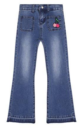 Детские расклешенные джинсы с нашивкой Sonia Rykiel Enfant синего цвета | Фото №1