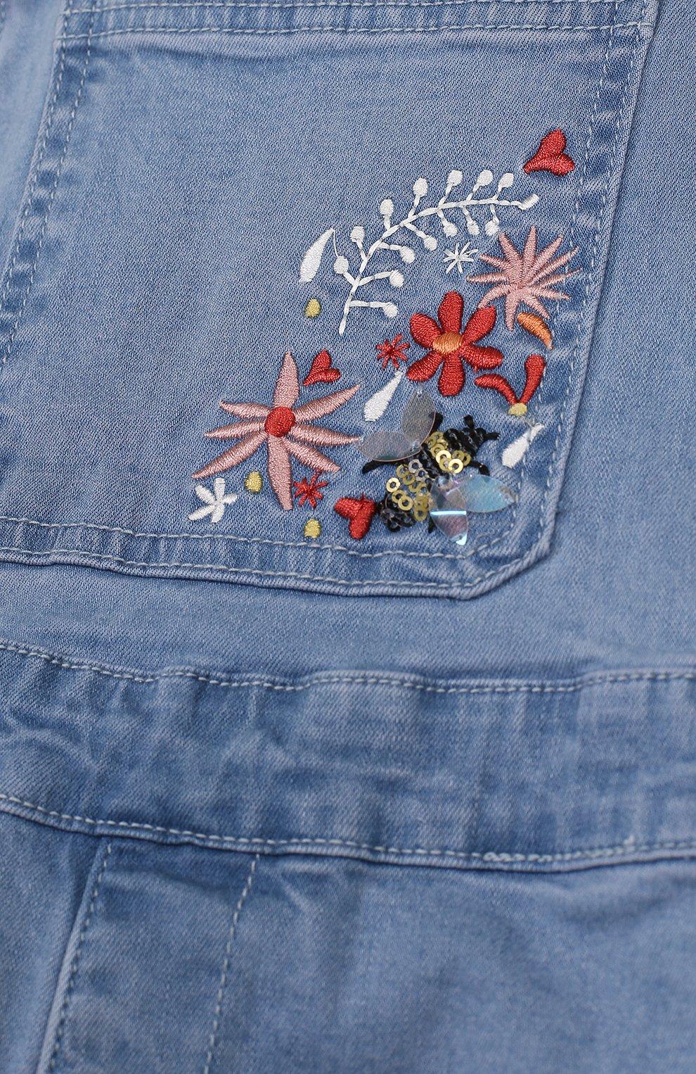 Детский джинсовый комбинезон с вышивкой SONIA RYKIEL ENFANT голубого цвета, арт. 18S1PA05 | Фото 3