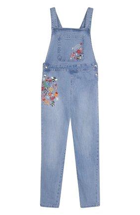 Детский джинсовый комбинезон с вышивкой Sonia Rykiel Enfant голубого цвета | Фото №1