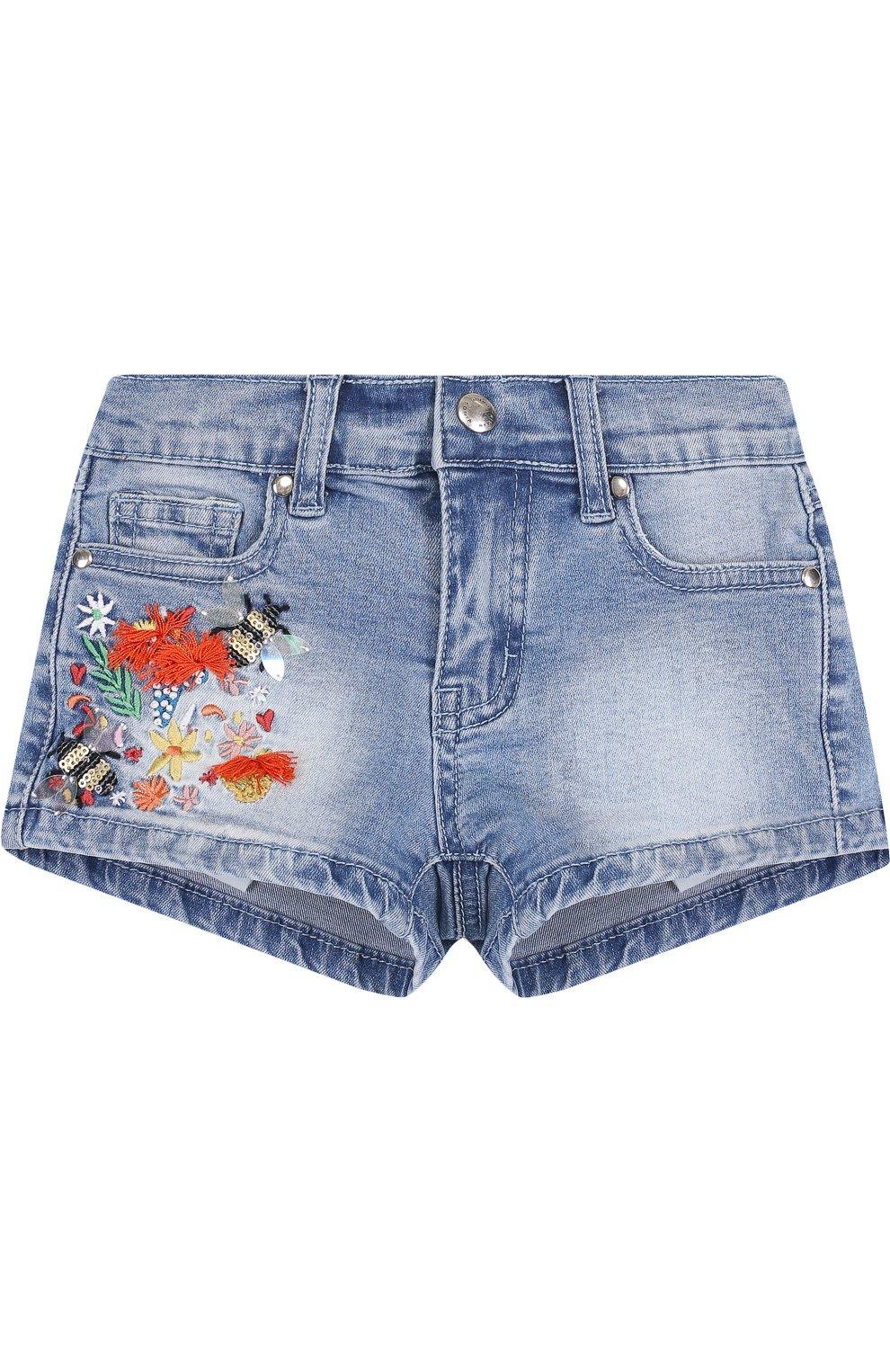 Детские джинсовые шорты с вышивкой SONIA RYKIEL ENFANT голубого цвета, арт. 18S1S003 | Фото 1