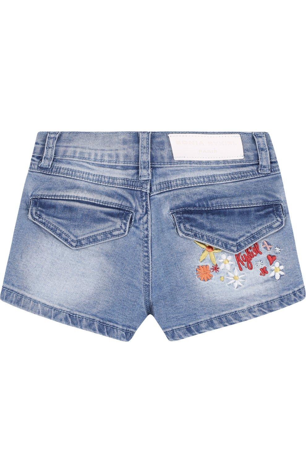 Детские джинсовые шорты с вышивкой SONIA RYKIEL ENFANT голубого цвета, арт. 18S1S003 | Фото 2