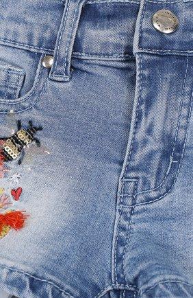 Детские джинсовые шорты с вышивкой SONIA RYKIEL ENFANT голубого цвета, арт. 18S1S003 | Фото 3