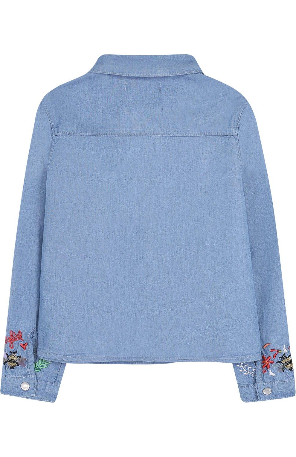 Детское блуза на кнопках с вышивкой SONIA RYKIEL ENFANT голубого цвета, арт. 18S1SH06   Фото 2